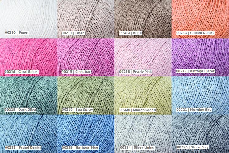 Rowan Cotton Cashmere colour palette codes